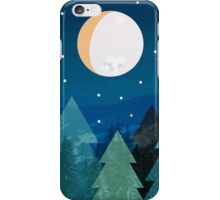 Coniferous forest with the background of the dark blue sky. Full moon.  Drawing iPhone Case/Skin