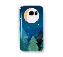 Coniferous forest with the background of the dark blue sky. Full moon.  Drawing Samsung Galaxy Case/Skin