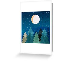 Coniferous forest with the background of the dark blue sky. Full moon.  Drawing Greeting Card
