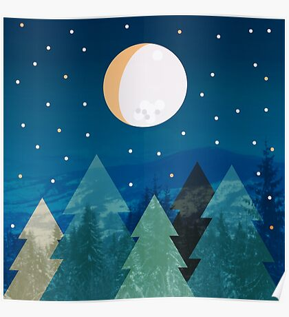 Coniferous forest with the background of the dark blue sky. Full moon.  Drawing Poster