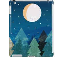 Coniferous forest with the background of the dark blue sky. Full moon.  Drawing iPad Case/Skin