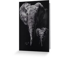 Elephant mum and her baby. Greeting Card