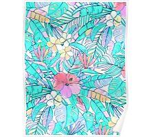 Pretty Pastel Hawaiian Hibiscus Print Poster
