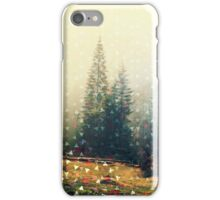 Mountain wildlife landscape. Coniferous forest in the mist. Spring, soft hipster colors. Colorful tiny triangles as a background pattern iPhone Case/Skin