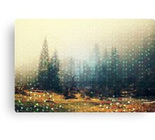 Mountain wildlife landscape. Coniferous forest in the mist. Spring, soft hipster colors. Colorful tiny triangles as a background pattern Canvas Print