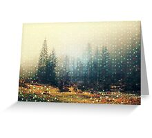 Mountain wildlife landscape. Coniferous forest in the mist. Spring, soft hipster colors. Colorful tiny triangles as a background pattern Greeting Card