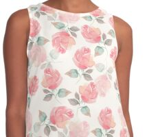 Hand-drawn beautiful roses. Seamless watercolor pattern Contrast Tank