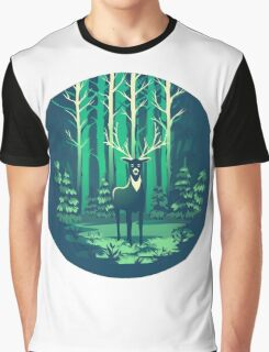Deer Forest Landscape - blues Graphic T-Shirt
