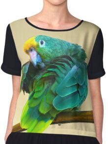 I see you. Sly Parrot Photo Chiffon Top