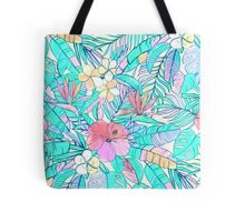 Pretty Pastel Hawaiian Hibiscus Print Tote Bag