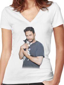 James Franco's Cat Women's Fitted V-Neck T-Shirt