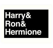 Harry Potter - Harry Ron Hermione Art Print