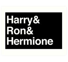 Harry Potter - Harry Ron Hermione Art Print