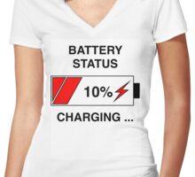 Battery Status Women's Fitted V-Neck T-Shirt