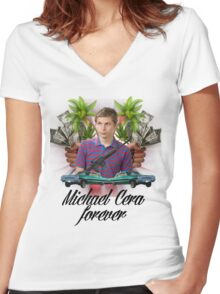 Michael Cera Forever Women's Fitted V-Neck T-Shirt