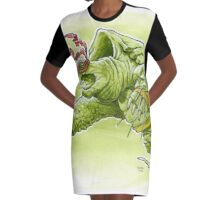 Fighting Turtle Graphic T-Shirt Dress