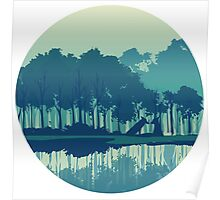 Wolves couple in forest and river landscape - cool blues Poster