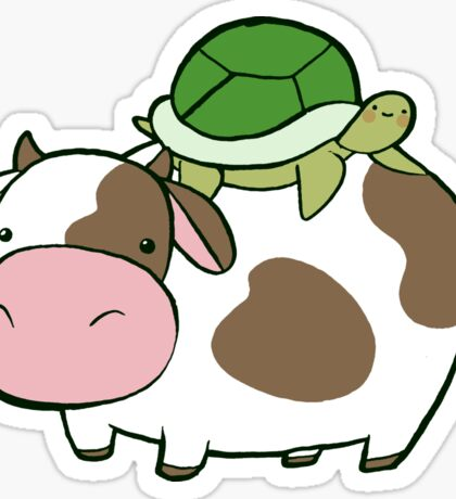 Cow and Turtle Sticker
