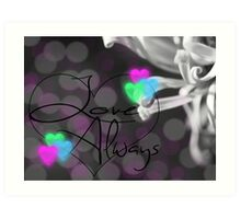 Love Always Black and White with Neon Art Print