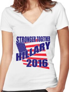 STRONGER TOGETHER HILLARY Women's Fitted V-Neck T-Shirt