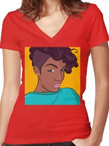 Mulatto girl vector print Women's Fitted V-Neck T-Shirt