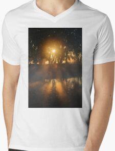 Hazy River Sunrise Mens V-Neck T-Shirt