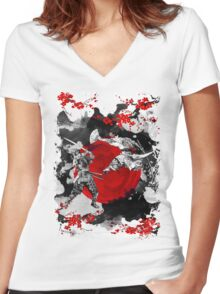 Samurai Fighting Women's Fitted V-Neck T-Shirt