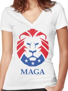 MAGA Lion | HD Women's Fitted V-Neck T-Shirt