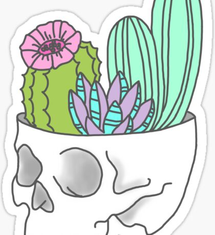 Skull succulent feminist skeleton cactus southwest girly tumblr pastel print Sticker