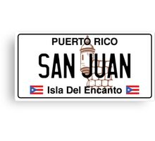 PR License Plate - San Juan   Canvas Print