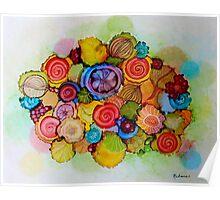 """Lucious"" - Colorful Unique Original Floral Design! Poster"
