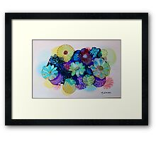 """Blooming Blues"" - Colorful Unique Original Artist's Floral Design! Framed Print"