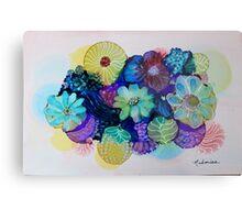 """Blooming Blues"" - Colorful Unique Original Artist's Floral Design! Metal Print"