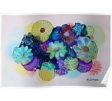 """Blooming Blues"" - Colorful Unique Original Artist's Floral Design! Poster"