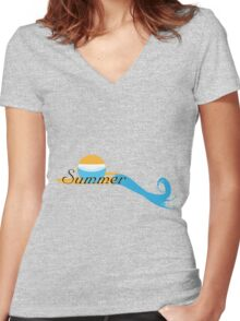 Summer logo Sand and Sea Women's Fitted V-Neck T-Shirt