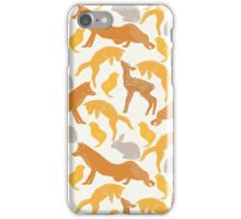 Vintage brown orange cute spring animal pattern iPhone Case/Skin