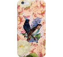 Vintage pink white botanic floral cute birds pattern iPhone Case/Skin