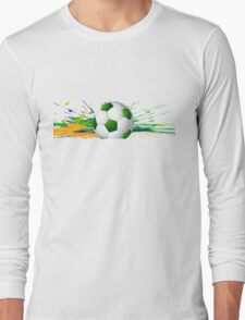 Soccer beautiful texture with brazil colors Long Sleeve T-Shirt