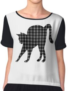 Black Cat Optical Illusion Effect Women's Chiffon Top