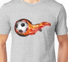 Soccer ball on fire Unisex T-Shirt