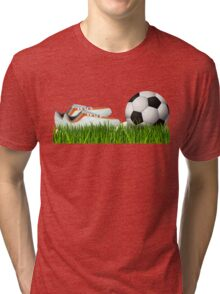 Orange soccer shoes with football Tri-blend T-Shirt