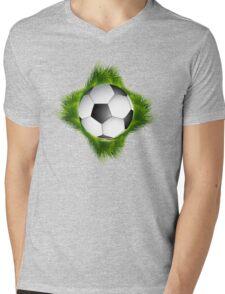 Abstract green grass colorful football design Mens V-Neck T-Shirt