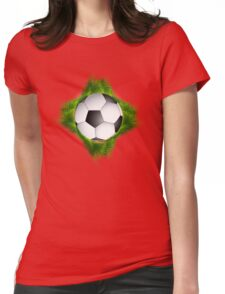 Abstract green grass colorful football design Womens Fitted T-Shirt