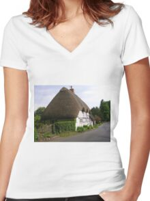 Wherwell Cottages (3) Women's Fitted V-Neck T-Shirt