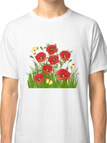 Poppies and Butterflies Classic T-Shirt