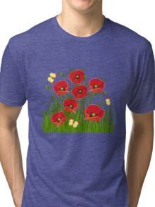 Poppies and Butterflies Tri-blend T-Shirt