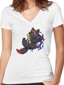 Dark Chibiterasu + Bone + Mirror Women's Fitted V-Neck T-Shirt