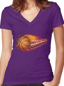 Basketball in fire Women's Fitted V-Neck T-Shirt