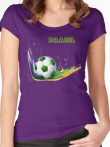 Beautiful brazil colors concept shiny soccer ball Women's Fitted Scoop T-Shirt