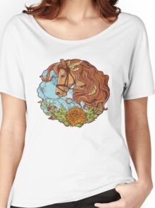Colorful portrait of a horse with clouds and flowers. Women's Relaxed Fit T-Shirt